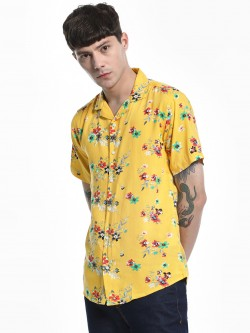 Green Hill Floral Print Cuban Collar Shirt