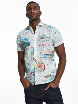 Green Hill Map Print Short Sleeve Shirt