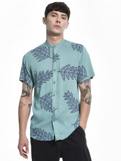 Green Hill Leaf Print Grandad Collar Shirt