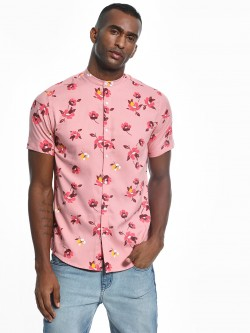 Green Hill Floral Print Band Collar Shirt