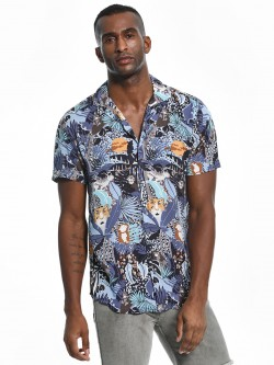 Green Hill Jungle Print Cuban Collar Shirt