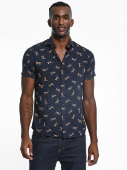 Green Hill Lion Print Cuban Collar Shirt