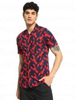 AMON Crab Print Cuban Collar Shirt