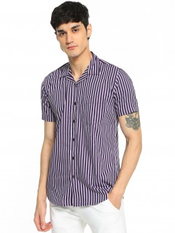 AMON Vertical Stripe Cuban Collar Shirt