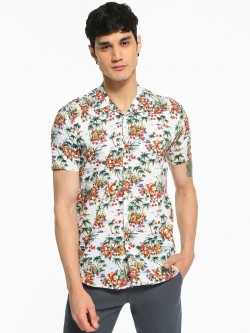 AMON Tropical Floral Print Cuban Shirt