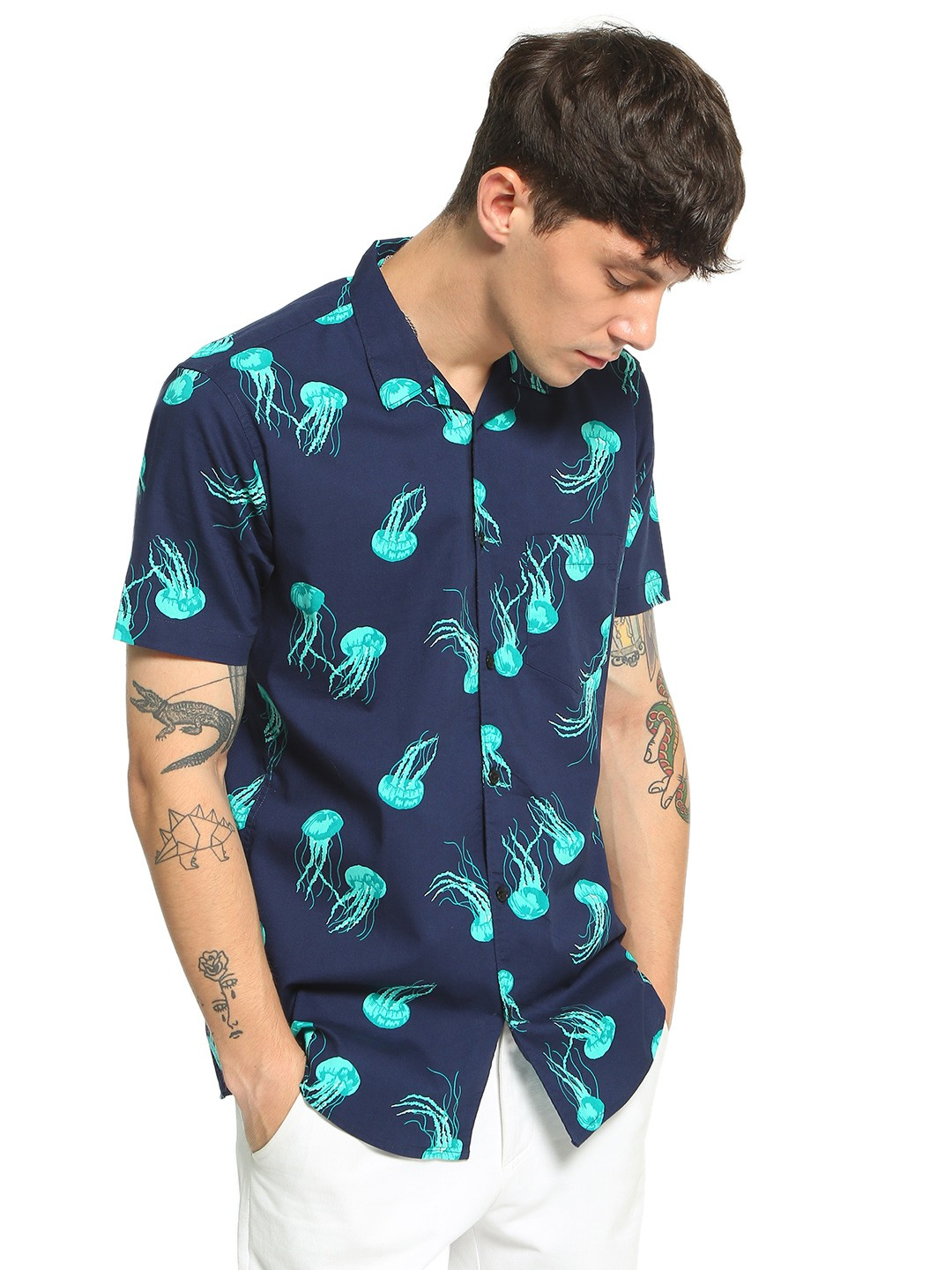 AMON Multi Jelly Fish Print Cuban Shirt 1