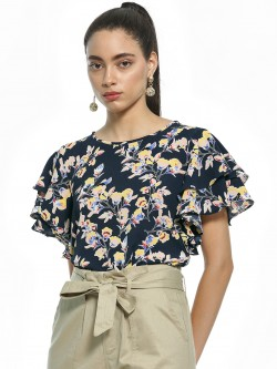 AND Floral Print Ruffle Sleeve Blouse