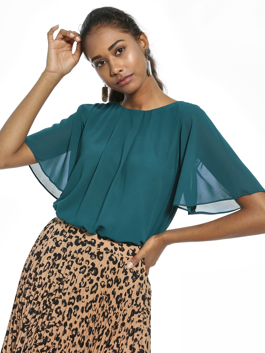 AND Teal Front Pleated Flared Sleeve Blouse 1