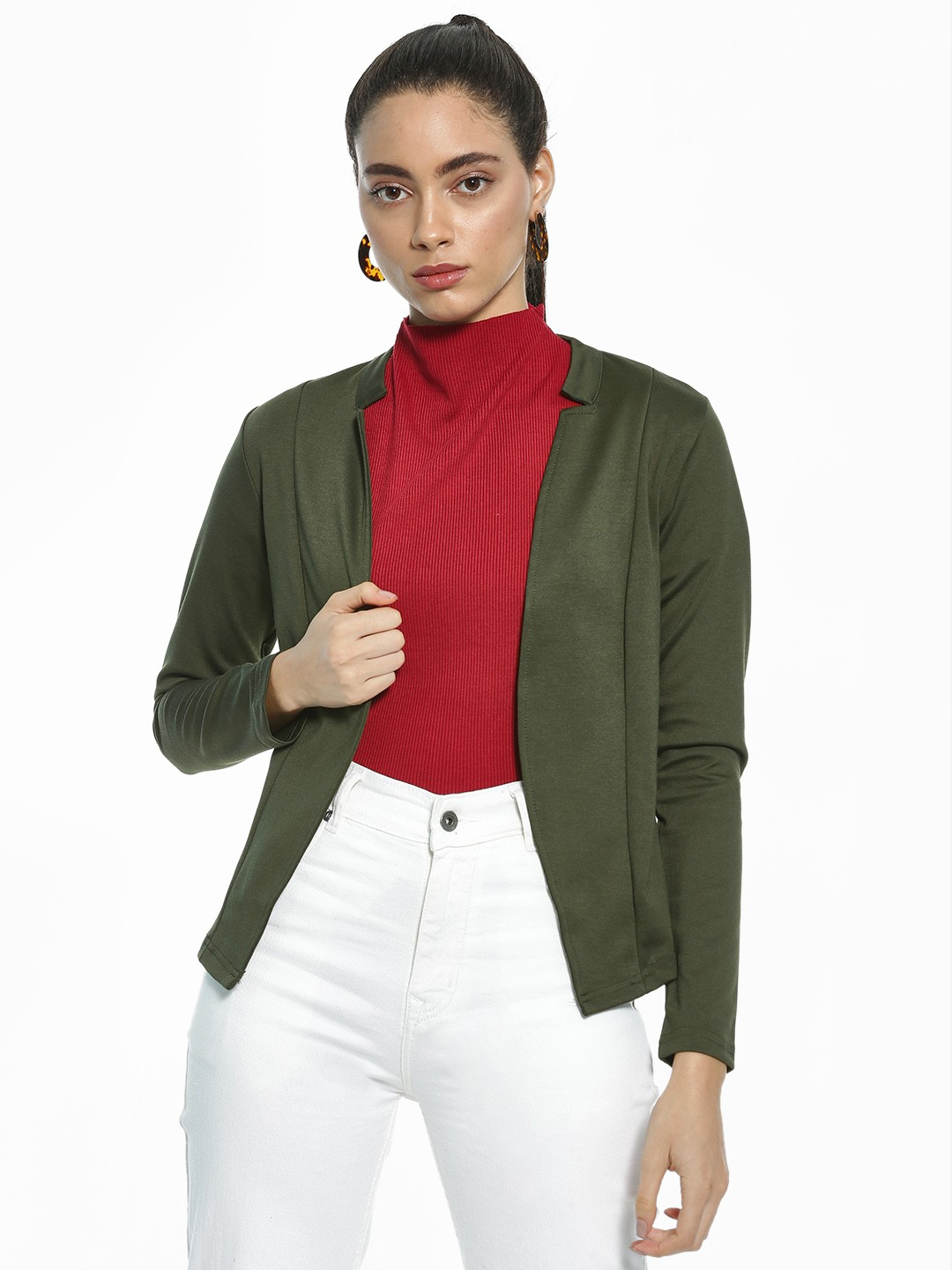 AND Olive Front Open Panelled Blazer 1