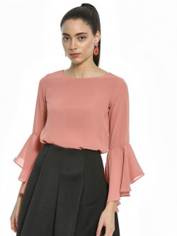 AND Flared Sleeve Cross-Back Blouse