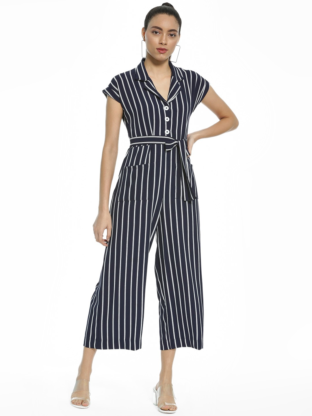 AND Blue Vertical Stripe Collared Jumpsuit 1
