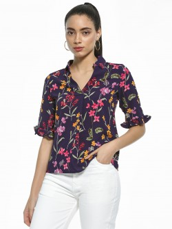 AND Floral Print Collared Blouse