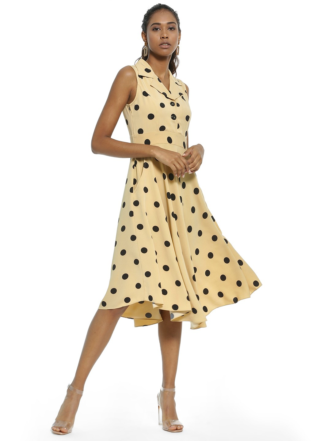 AND Beige Polka Dot Print Midi Dress 1