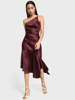 KOOVS One Shoulder Satin Asymmetric Dress
