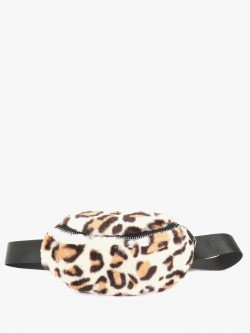 Origami Lily Furry Leopard Print Bum Bag