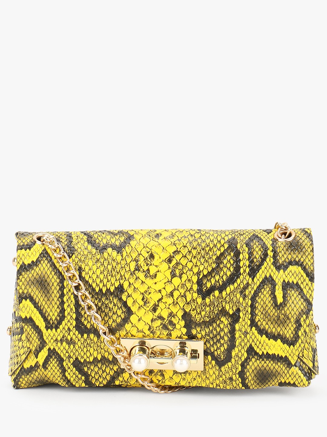 Origami Lily Yellow Snakeskin Print Bum Bag 1