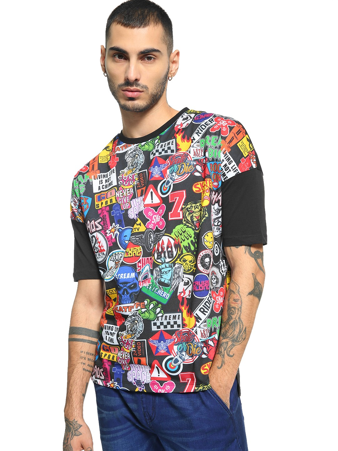 KOOVS Multi Front Sticker Print T-Shirt 1