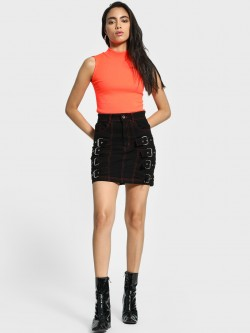 K Denim KOOVS Contrast Stitch Buckle-Front Mini Skirt