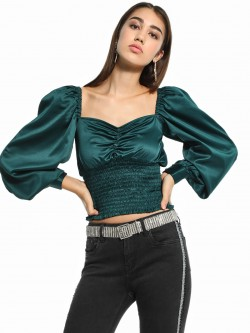 KOOVS Satin Shirred Crop Top