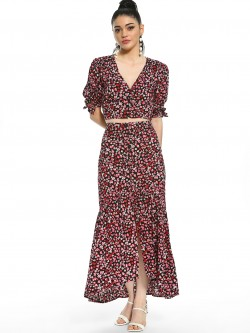 KOOVS Floral Print Button Front Maxi Skirt