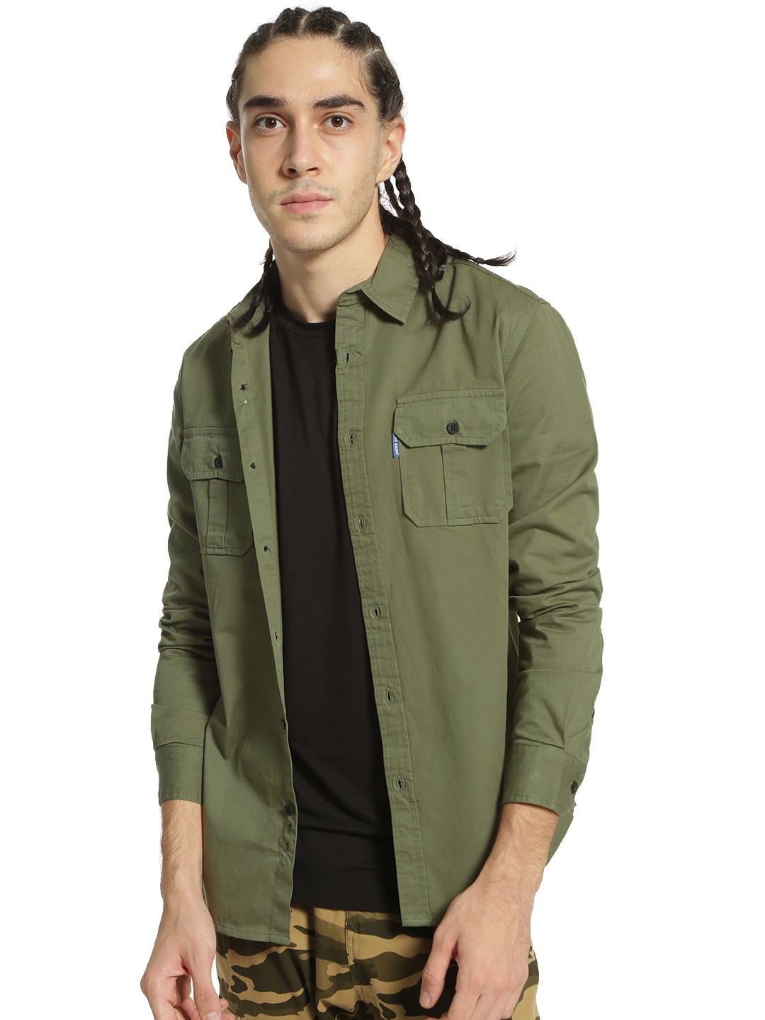 Blue Saint Green Basic Twin Pocket Shirt 1