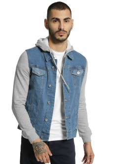 Blue Saint Jersey Sleeve Hooded Denim Jacket