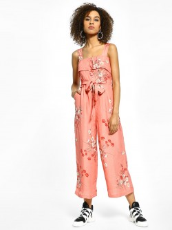 Cover Story Floral Print Sleeveless Cropped Jumpsuit