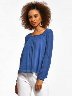 Cover Story Lace Border Square Neck Blouse