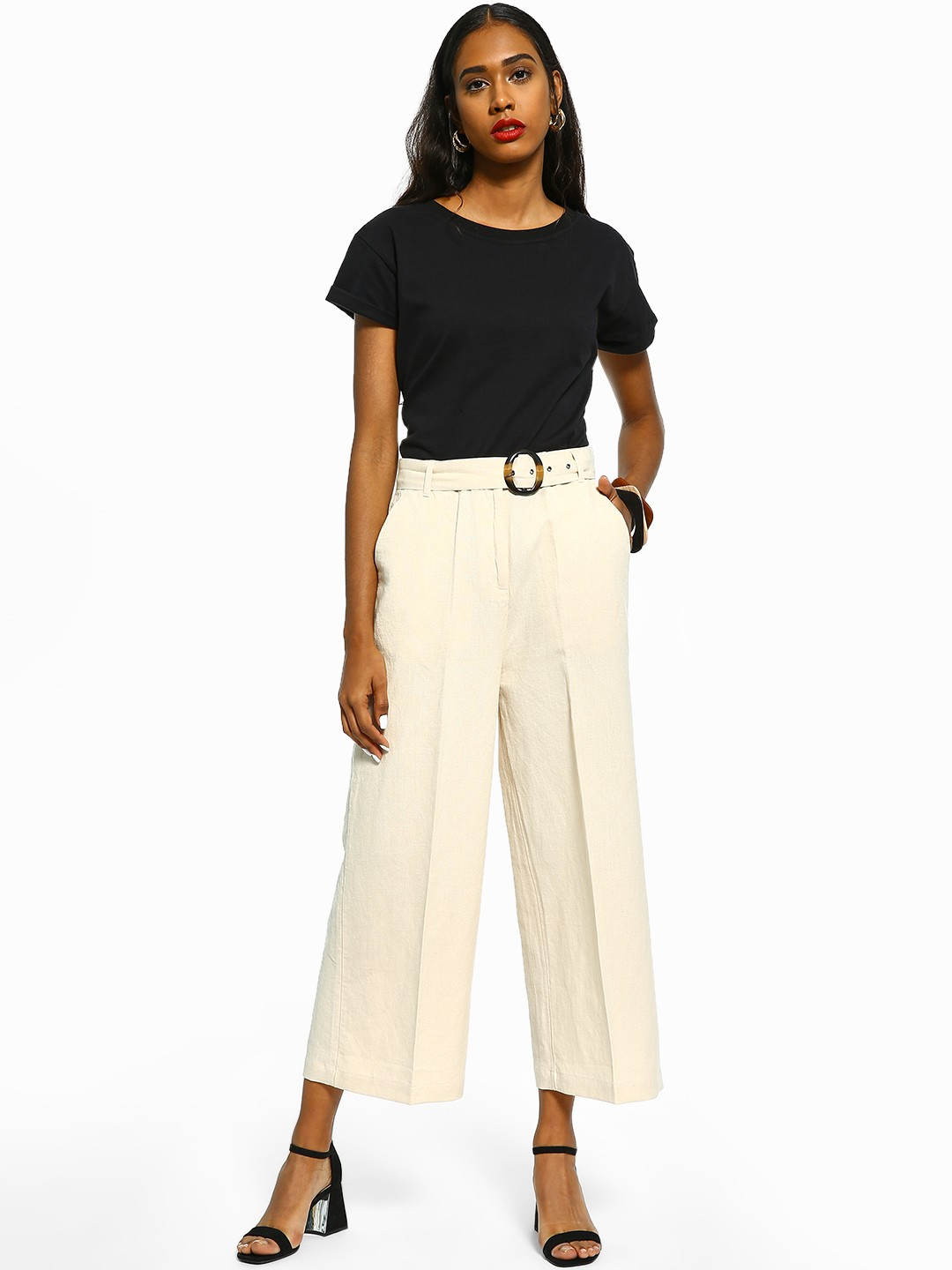 Cover Story Off White Linen Flared Belted Trousers 1