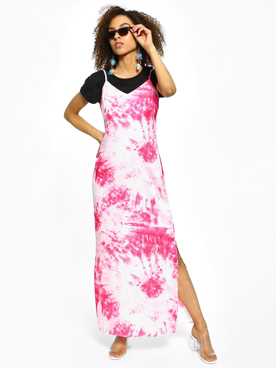 Cover Story Pink Tie & Dye Side Slit Maxi Dress 1