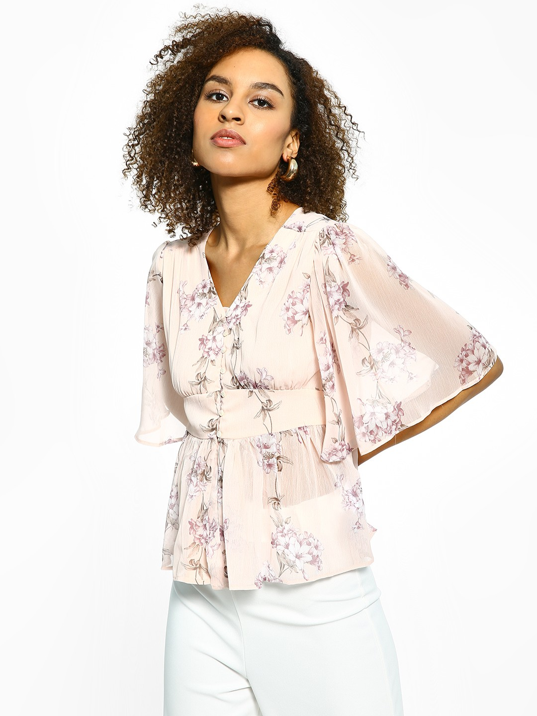 Cover Story Pink Sheer Floral Print Flared Top 1