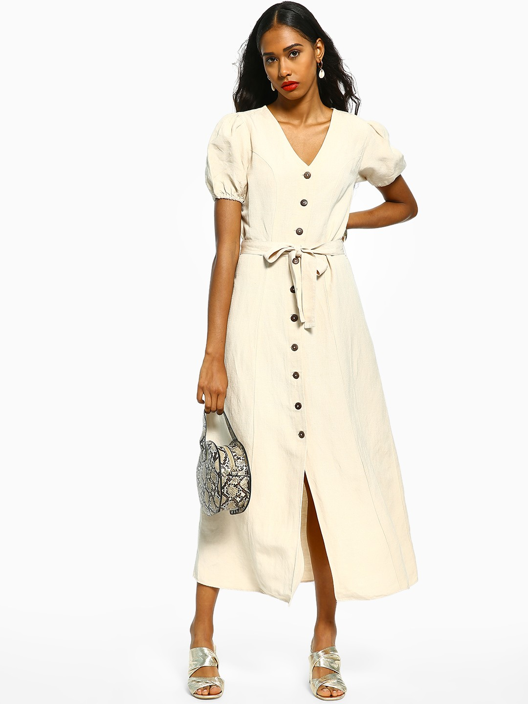 Cover Story Off White Button-Down Tie-Knot Maxi Dresses 1