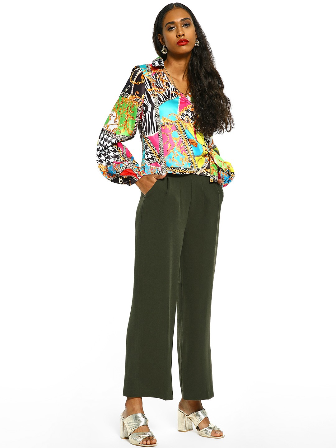 Cover Story Green Linen Flared Tie-Knot Trousers 1