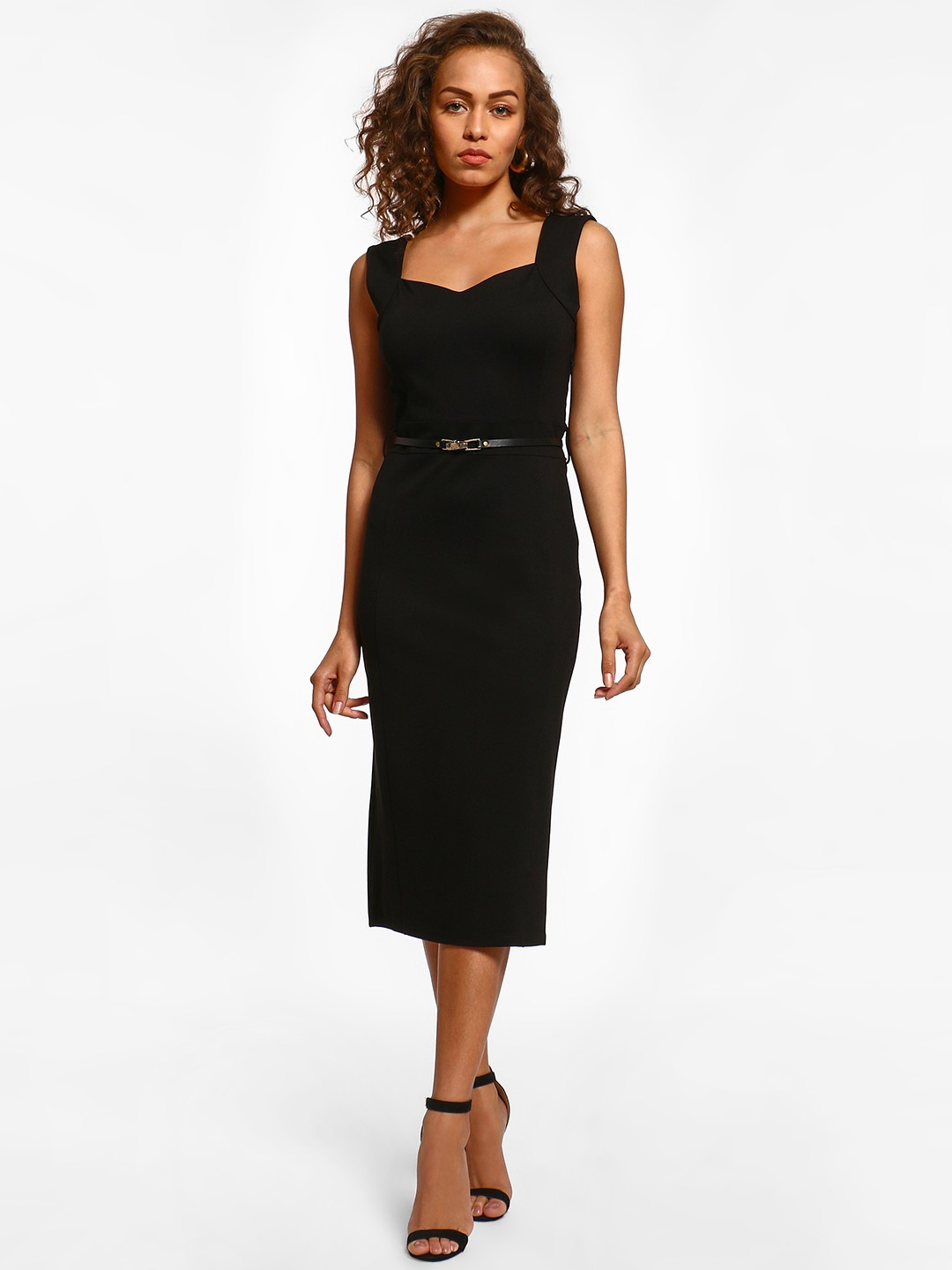 Cover Story Black Basic Sleeveless Midi Dress 1