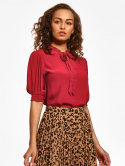 Cover Story Ruffle Neck Tie-Knot Blouse