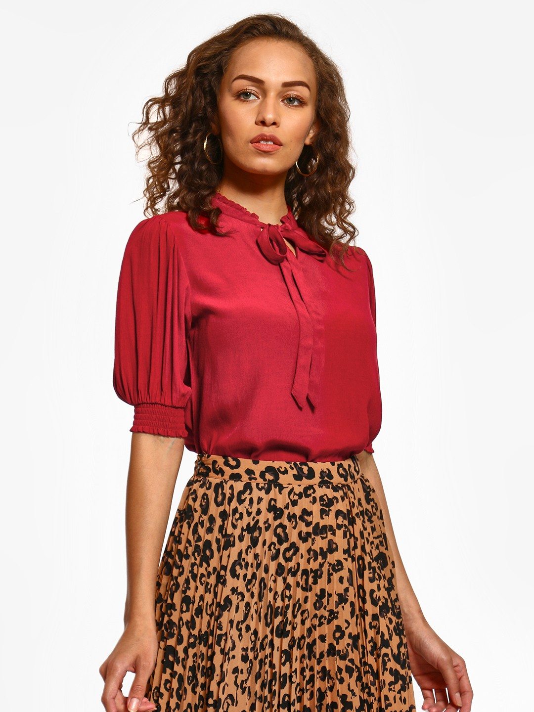 Cover Story Maroon Ruffle Neck Tie-Knot Blouse 1
