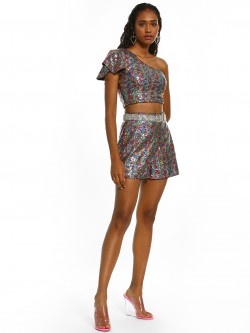 KOOVS Rainbow Sequin High Waist Shorts