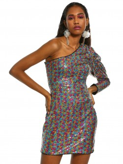 KOOVS One Shoulder Sequin Bodycon Dress