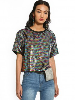 KOOVS Rainbow Sequin Crop T-Shirt