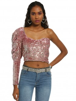 KOOVS One Shoulder Sequinned Crop Top