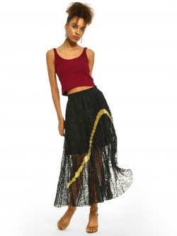 Origami Lily Crochet Lace Metallic Stripe Skirt