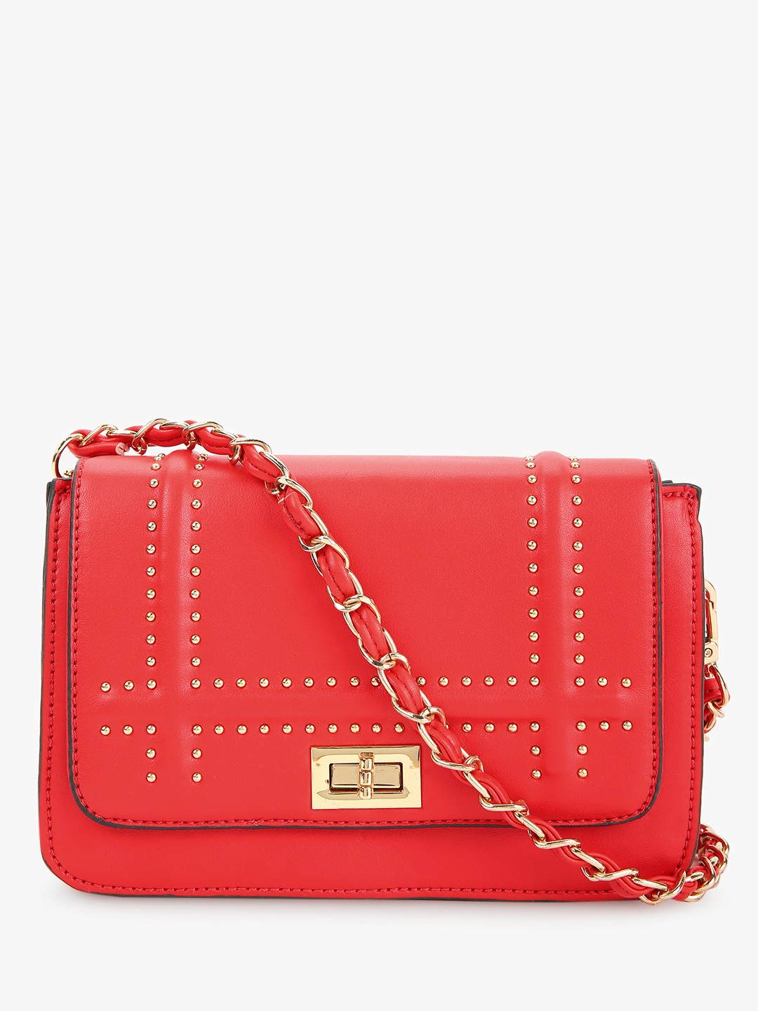 Cover Story Red Studded Flap Sling Bag 1