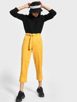 Blue Saint Belted Waist Cropped Trousers