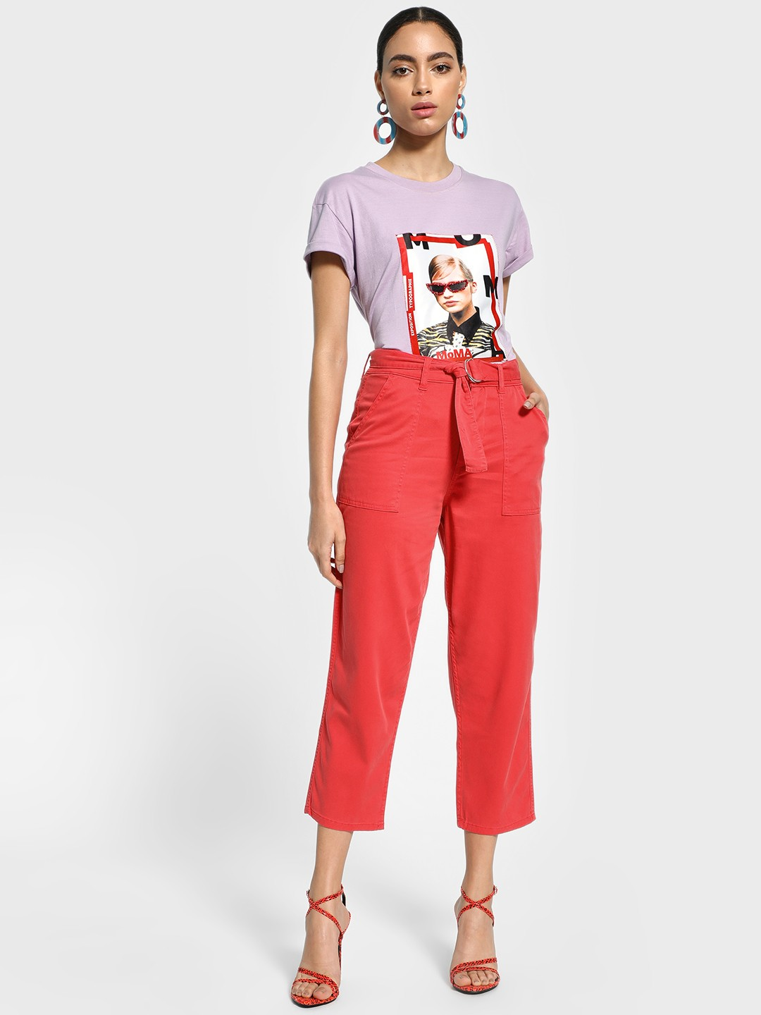 Blue Saint Red Belted Waist Cropped Trousers 1