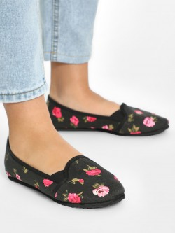 KOOVS Floral Print Flat Shoes