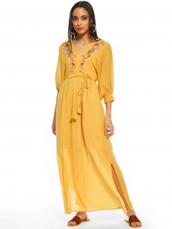 Cover Story Floral Embroidered Yoke Maxi Dress