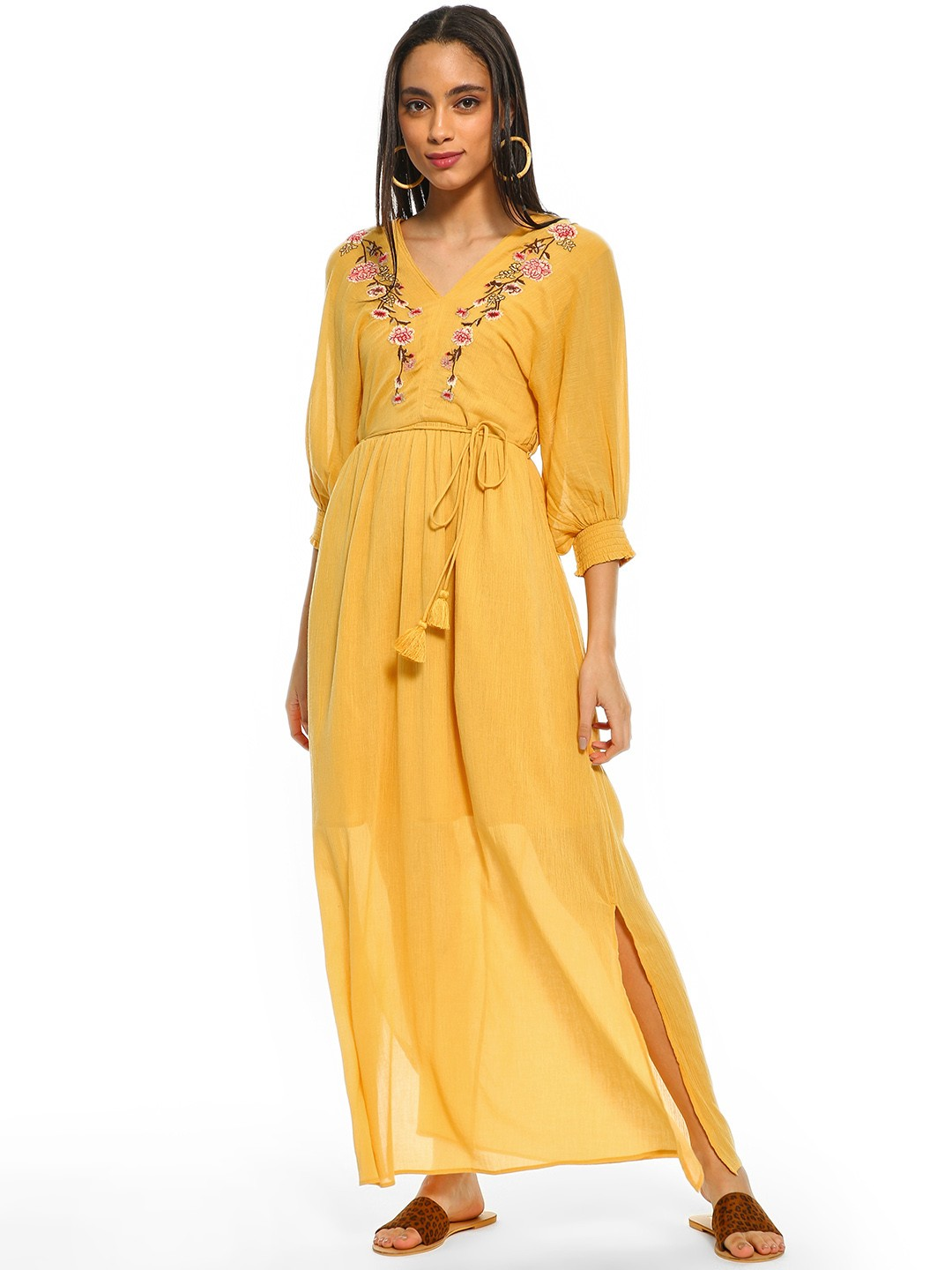 Cover Story Mustard Floral Embroidered Yoke Maxi Dress 1