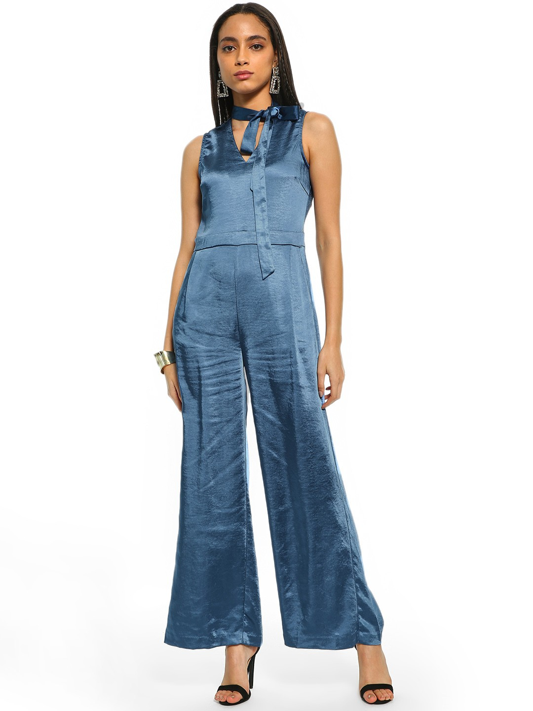 Cover Story Blue Pussy Bow Neck Satin Jumpsuit 1