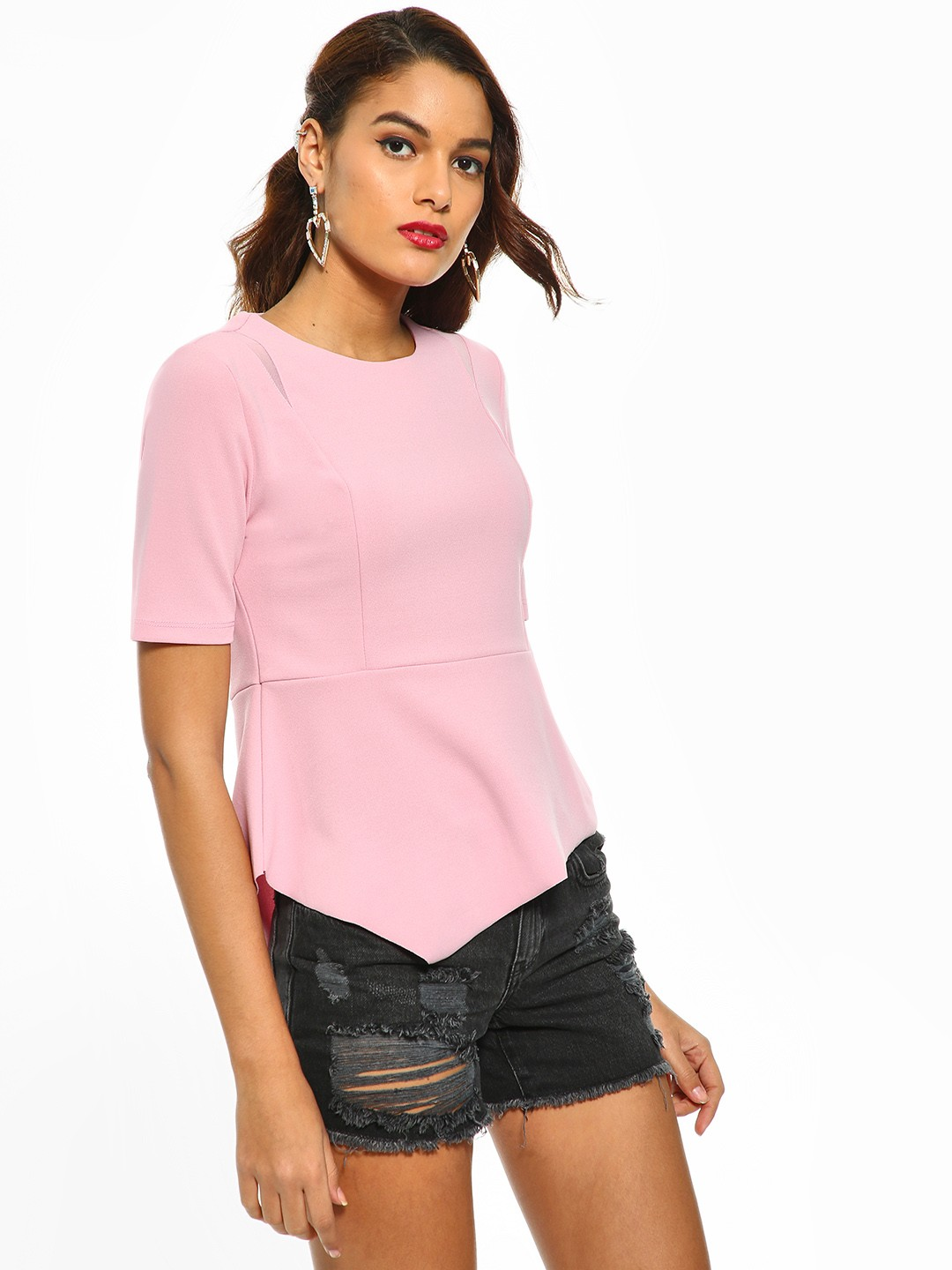 Cover Story Pink Panelled Asymmetric Hem Top 1