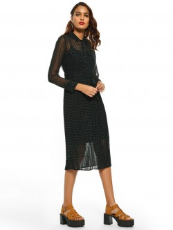 Cover Story Polka Dot Plisse Midi Dress